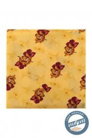 Žltá hodvábna vreckovka hnedé kvety