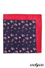 Pánska vreckovka drobné kvety s červeným lemom