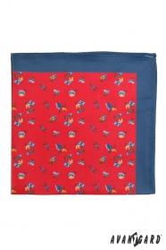 Červená pánska vreckovka s modrým okrajom drobné kvety