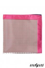 Pánska vreckovka s ružovým okrajom a kohúťou stopou