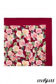 Vinová pánska vreckovka s ružami