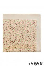 Jemná smotanová vreckovka kvetinový vzor