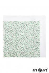 Biela pánska vreckovka drobné zelenoružové kvietky
