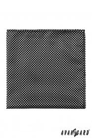Černá pánska vreckovka Biele bodky
