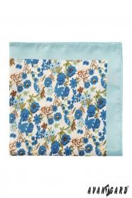 Pánska polyesterová vreckovka s modrými kvetmi