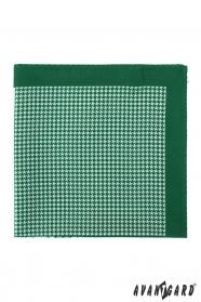 Zelená biela vreckovka vzorovaná
