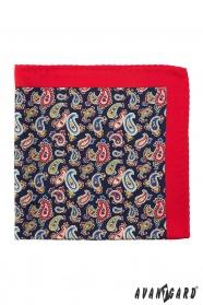 Vreckovka červené okraje Paisley vzor