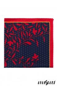Vreckovka tmavomodrá červené kvety