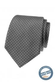 Šedá jemne vzorovaná kravata z hodvábu v darčekovej krabičke
