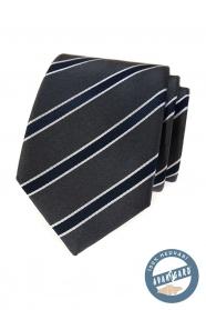 Šedá hodvábna kravata s modrým pruhom v darčekovej krabičke
