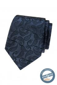 Modrá hodvábna kravata s paisley vzorom v darčekovej krabičke