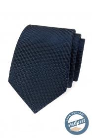 Modrá štruktúrovaná hodvábna kravata v darčekovej krabičke