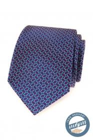 Modrá hodvábna kravata s červeným vzorom