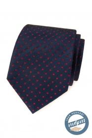 Modrá hodvábna kravata s červenými štvorčeky