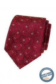Vzorovaná hodvábna kravata vo farbe bordó