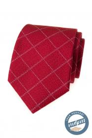 Hodvábna kravata červená s mriežkovaným vzorom