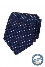 Hodvábna kravata modrá s bielym vzorom v darčekovej krabičke