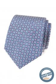 Hodvábna kravata s modro-ružovým vzorom