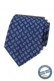 Modrá hodvábna kravata s malým paisley vzorom