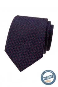 Modrá kravata z hodvábu s červeným vzorom