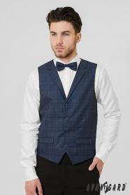 Modrá pánska vesta s kockovaným vzorom