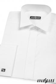Pánska fraková košeľa na manžetové gombíky biela