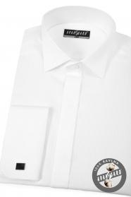 Biela piké smokingové košeľa s dvojitou manžetou