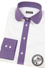 Biela dámska košeľa s fialovou dlhý rukáv