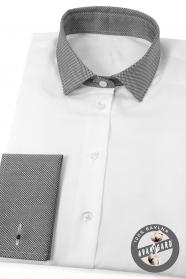 Biela dámska košeľa šedý golier francúzska manžeta
