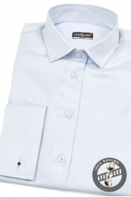 Bledomodrá dámska košeľa na manžetové gombíky