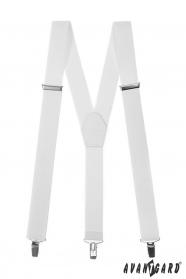 Biele pánske traky s bielou kožou a zapínaním na kovové klipy