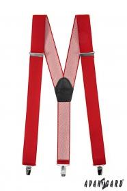 Červené traky s koženým stredom a zapínaním na klipy