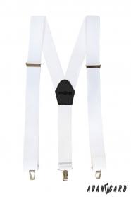 Biele traky s čiernou kožou a zapínaním na klipy
