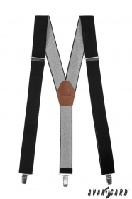 Čierne pánske traky s hnedou kožou a zapínaním na kovové klipy