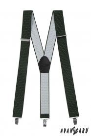 Pánske traky zelené s bielou bodkou čiernou kožou a kovovými klipy