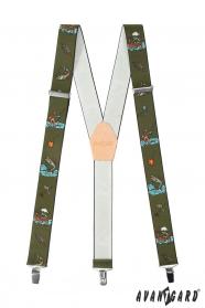 Rybárske traky s koženým stredom a zapínaním na kovové klipy