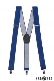 Kráľovsky modré traky s koženým stredom a zapínaním na klipy
