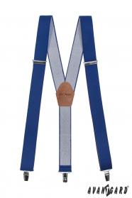 Traky vo forme Y s koženým stredom - 35 mm - kráľovská modrá