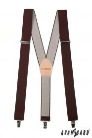 Traky Y s koženým stredom a zapínaním na klipy - 35 mm - Hnedá, béžová koža