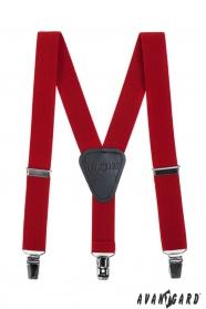 Červené chlapčenské traky s koženým stredom a zapínaním na klipy