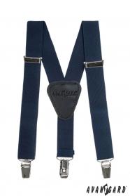 Tmavo modré chlapčenské traky s koženým stredom na klipy