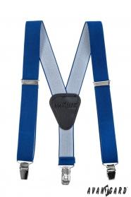 Chlapčenské traky s koženým stredom na klipy, Kráľovská modrá