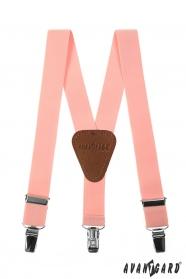 Ružové chlapčenské traky s koženým stredom a zapínaním na klipy