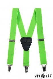 Zelené, neónové chlapčenské traky s koženým stredom a zapínaním na klipy