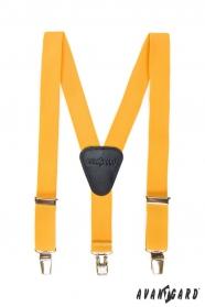 Žlté chlapčenské traky s koženým stredom a zapínaním na klipy