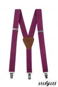Chlapčenské traky purpurovej farby s hnedou kožou a zapínaním na kovové klipy