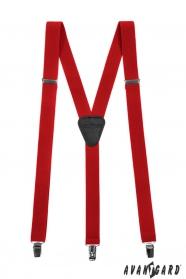 Červené pánske traky s koženým stredom - zapínanie na klipy