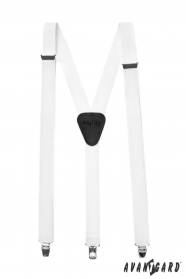 Biele traky Y s koženým stredom zapínanie na klipy