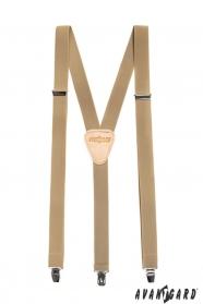 Traky Y s koženým stredom zapínanie na klipy - 25 mm - béžová koža