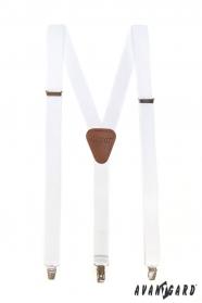 Biele pánske traky s hnedou kožou a zapínaním na kovové klipy